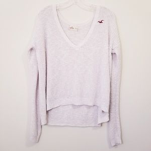 Hollister xs White Knitted Hi Low Sweater